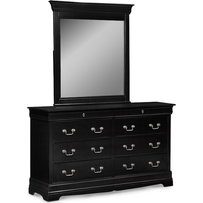 Bedroom Furniture - Neo Classic Dresser and Mirror - Black
