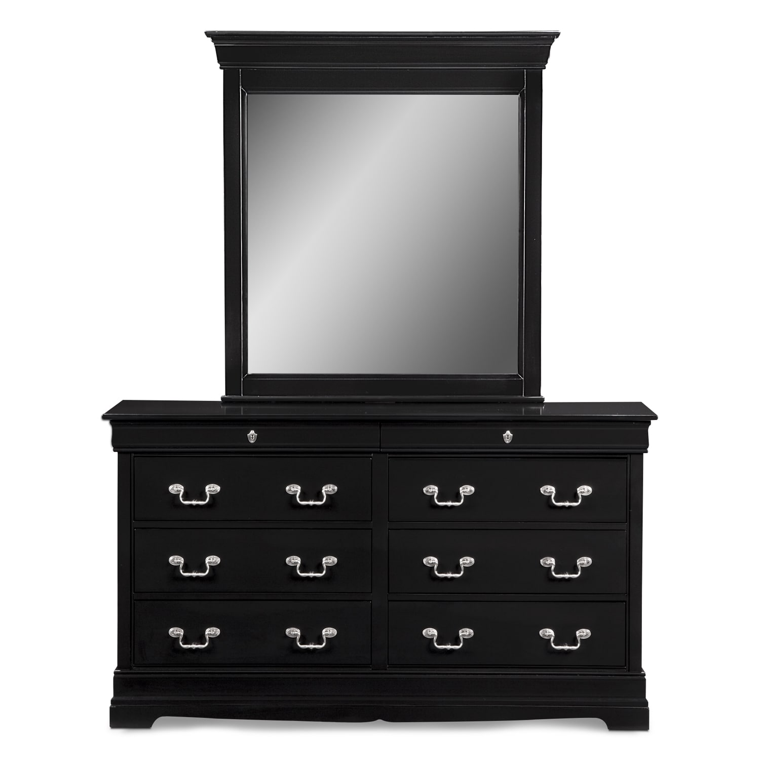 Neo Classic Dresser and Mirror Black American Signature Furniture