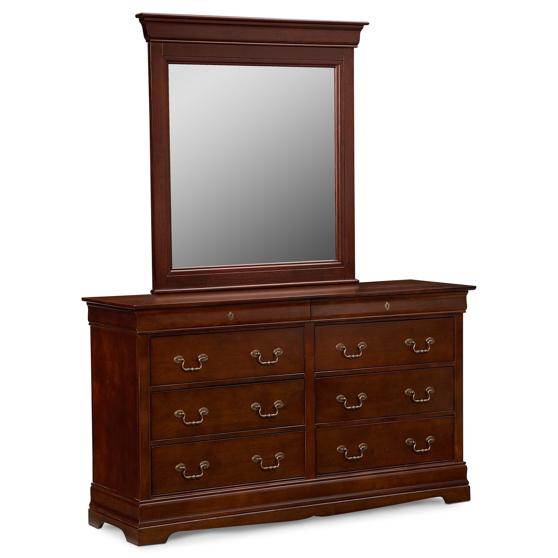 Kids Furniture - Neo Classic Dresser and Mirror - Cherry