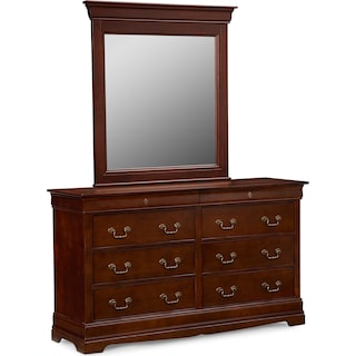 Neo Classic Dresser and Mirror - Cherry