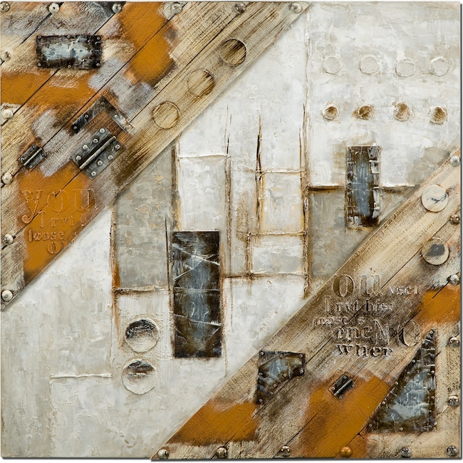 Home Accessories - Metal Brown Mixed Media Painting
