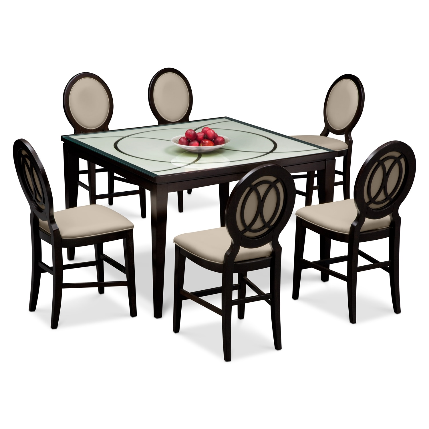 Dining Room Furniture - Cosmo Counter-Height Table and 6 Chairs - Merlot