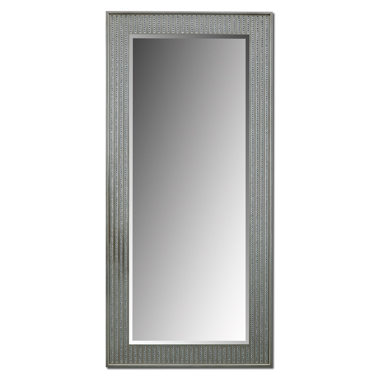 Accent and Occasional Furniture - Bling Glam Floor Mirror - Silver