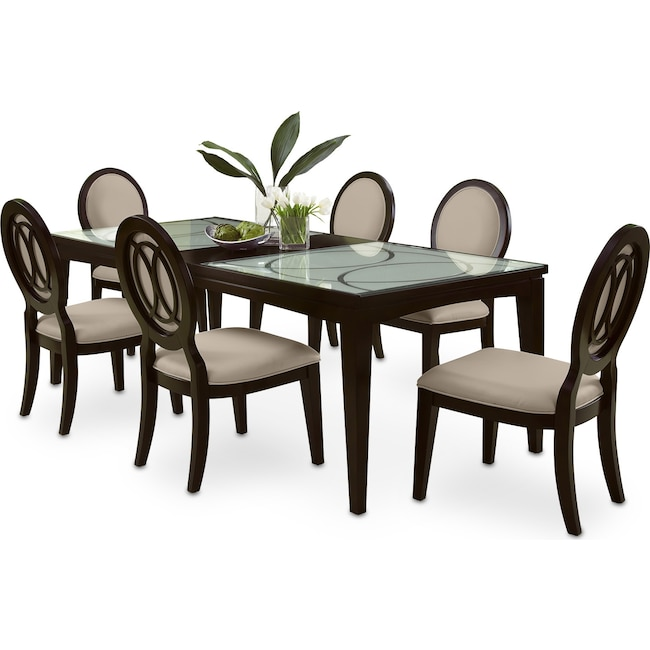 Dining Room Furniture - Cosmo Dining Table and 6 Upholstered Chairs