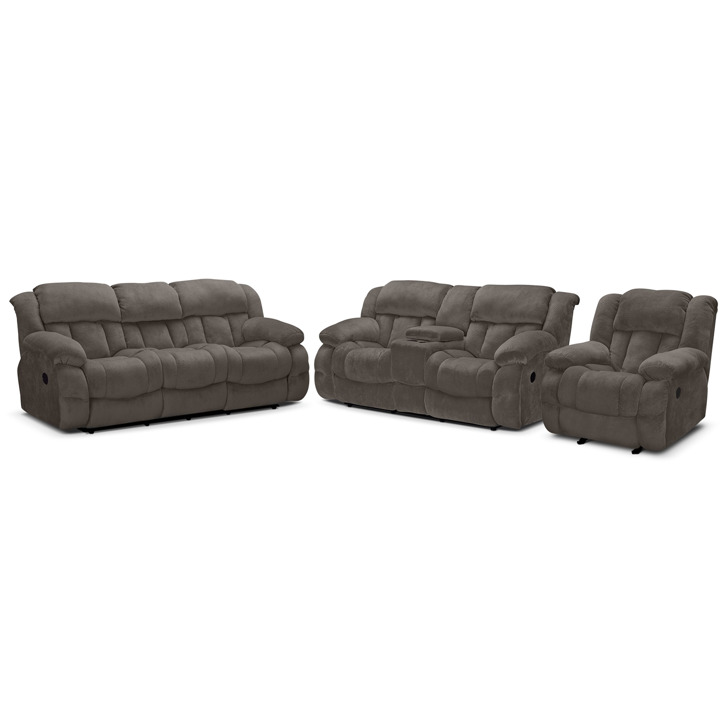 Park City Dual Reclining Sofa, Loveseat And Glider Recliner Set  Gray By  One80