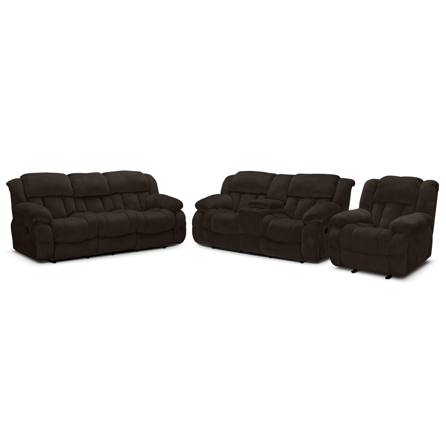 Living Room Furniture - Park City Dual Reclining Sofa, Loveseat and Glider Recliner Set - Chocolate