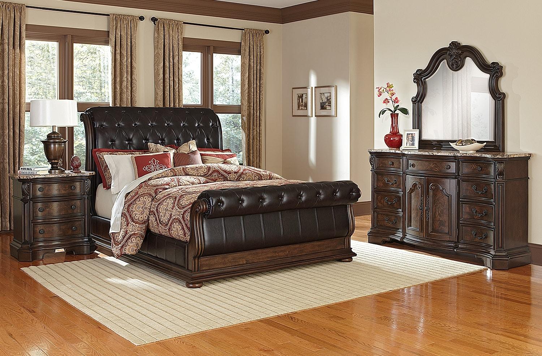 Monticello 6 Piece King Upholstered Sleigh Bedroom Set   Pecan