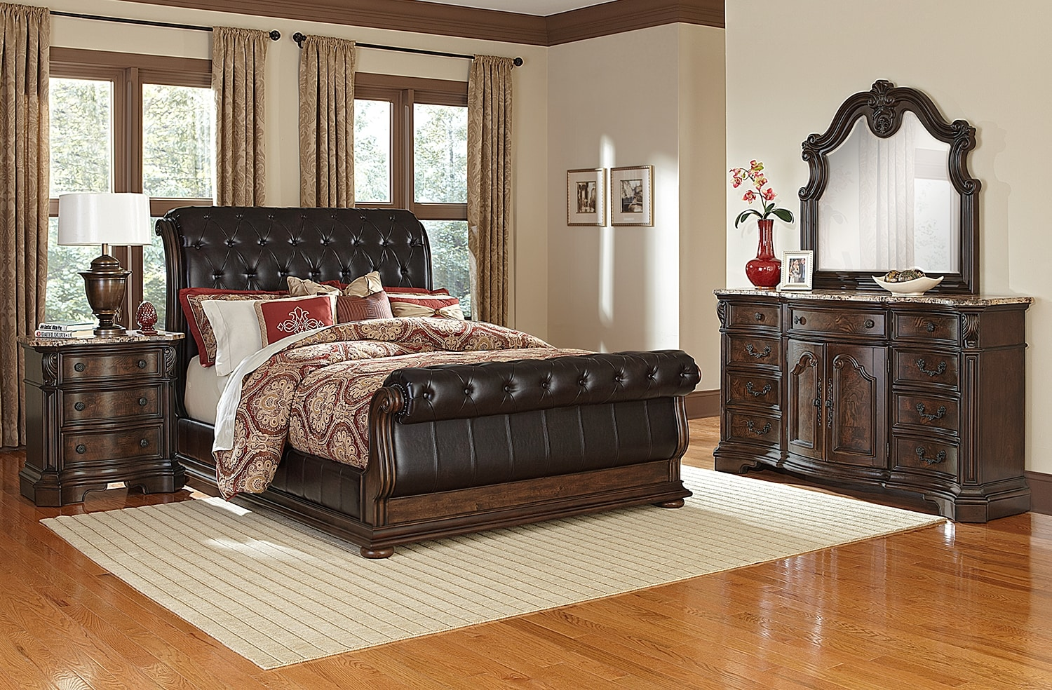Bedroom Furniture   Monticello 6 Piece King Upholstered Sleigh Bedroom Set    Pecan