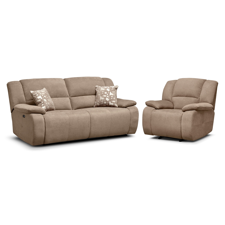 Living Room Furniture - Destin Beige 2 Pc. Power Reclining Living Room w/Recliner