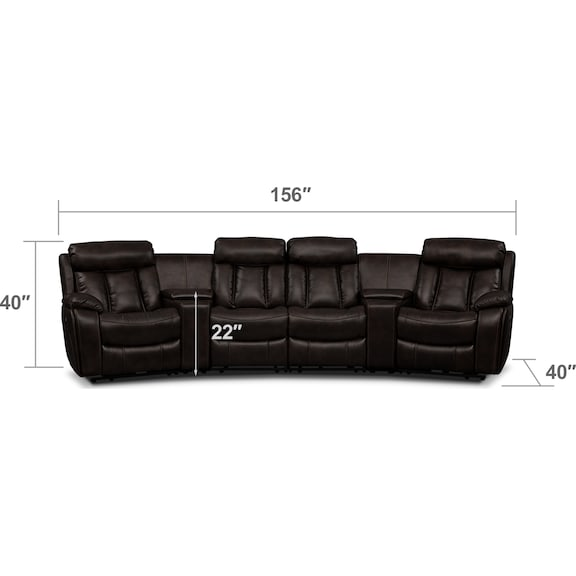 Living Room Furniture - Diablo 6-Piece Power Reclining Sectional with 4 Reclining Seats