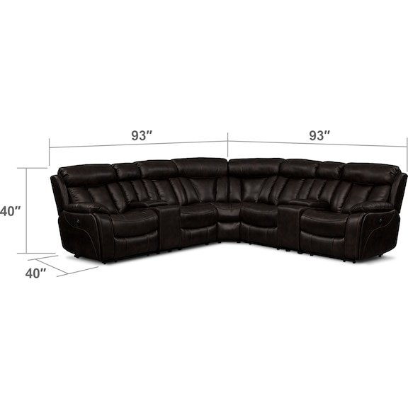 Living Room Furniture - Diablo 7-Piece Power Reclining Sectional with Armless Power Chair - Walnut