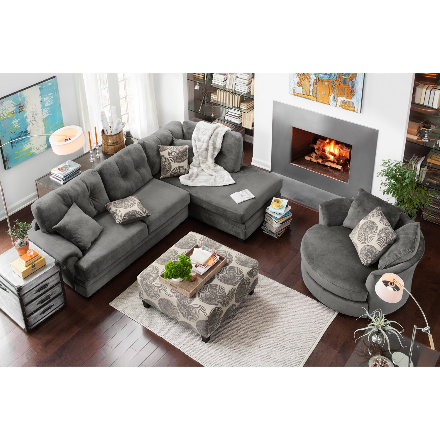Cordelle 2 piece right facing chaise sectional gray for Living room furniture pieces