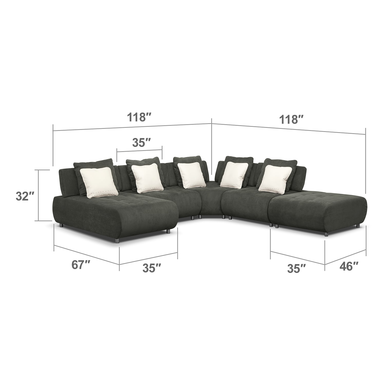 Living Room Furniture - Bongo 5-Piece Sectional