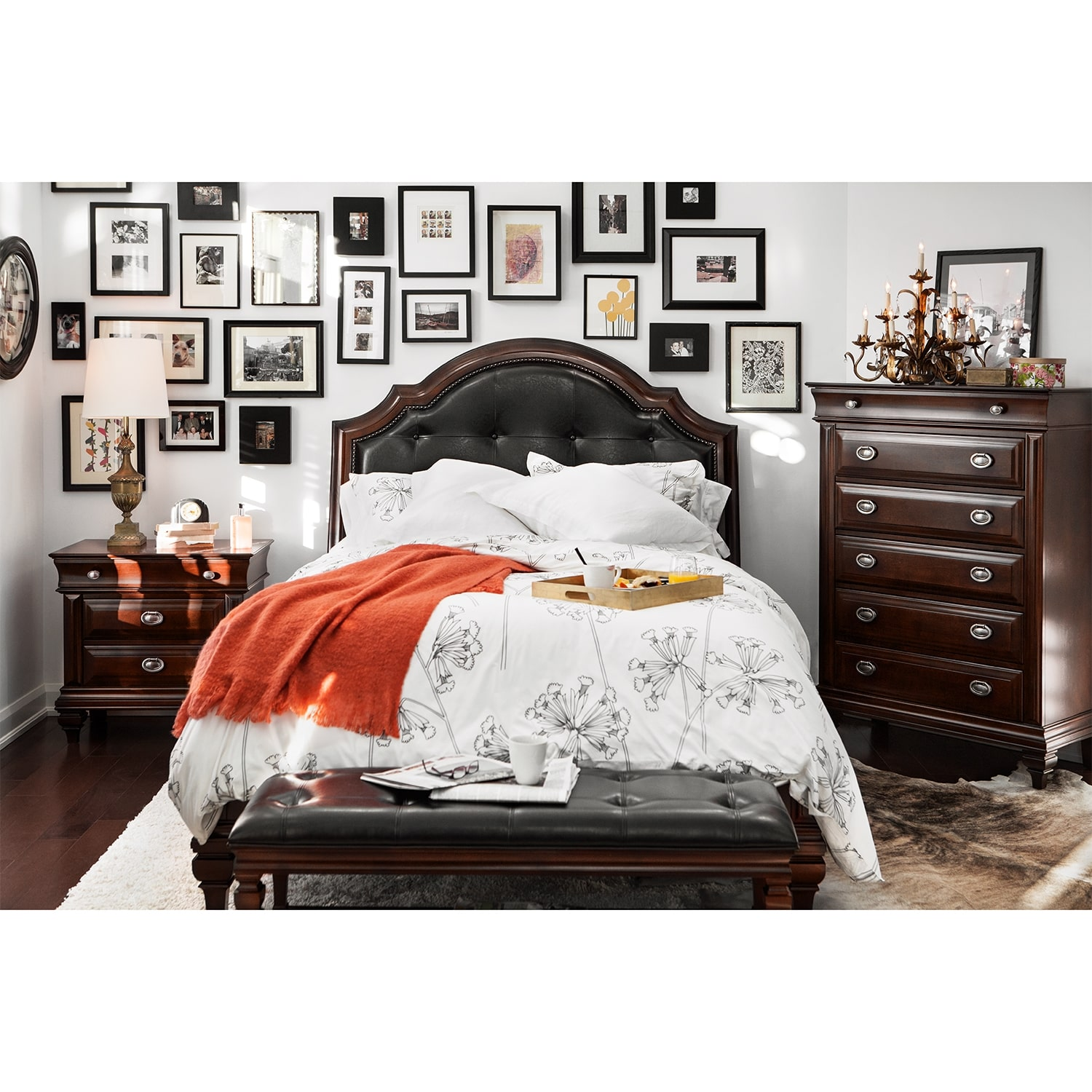Manhattan Queen Upholstered Bed - Cherry | American Signature ...