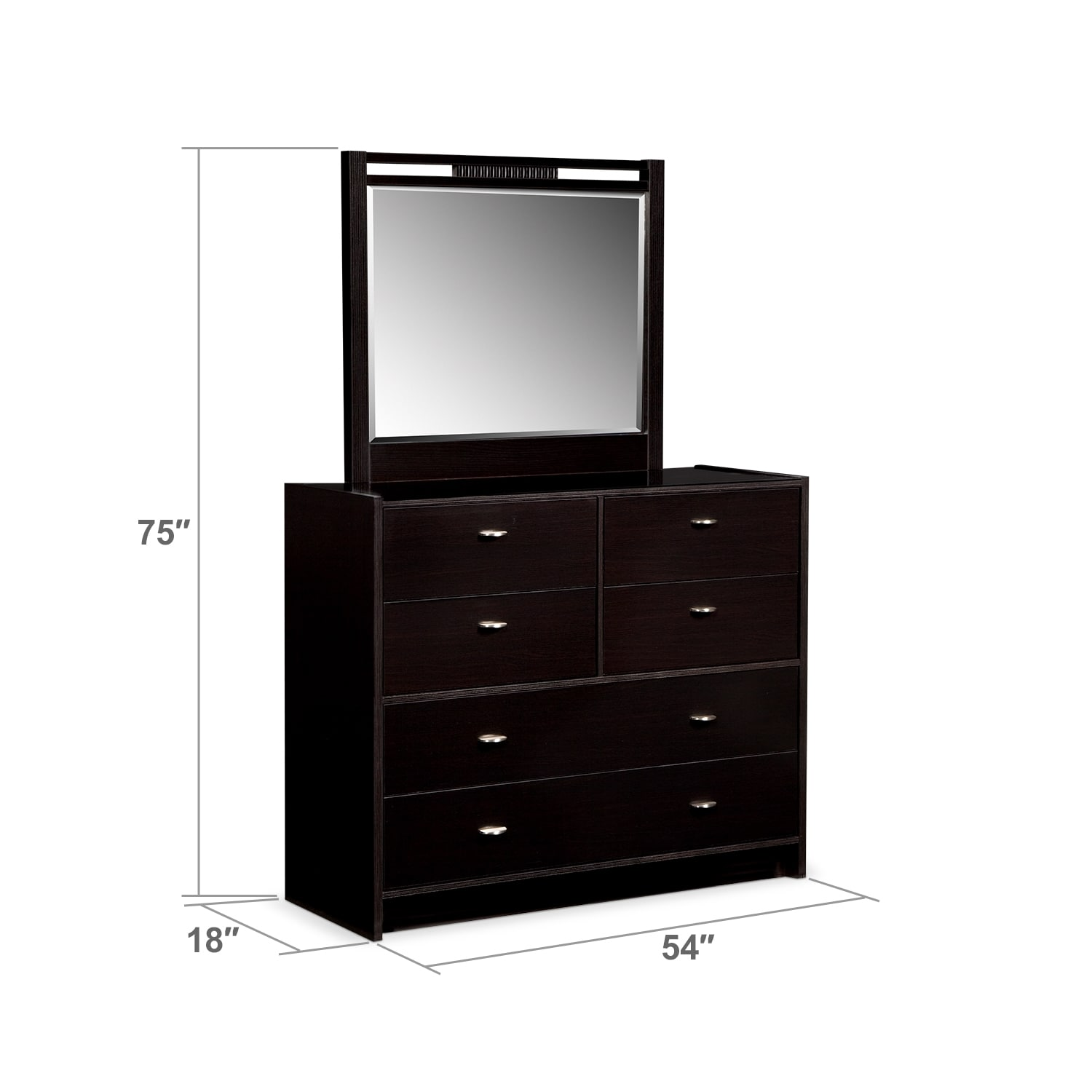 Bedroom Furniture - Bally Dresser and Mirror - Espresso