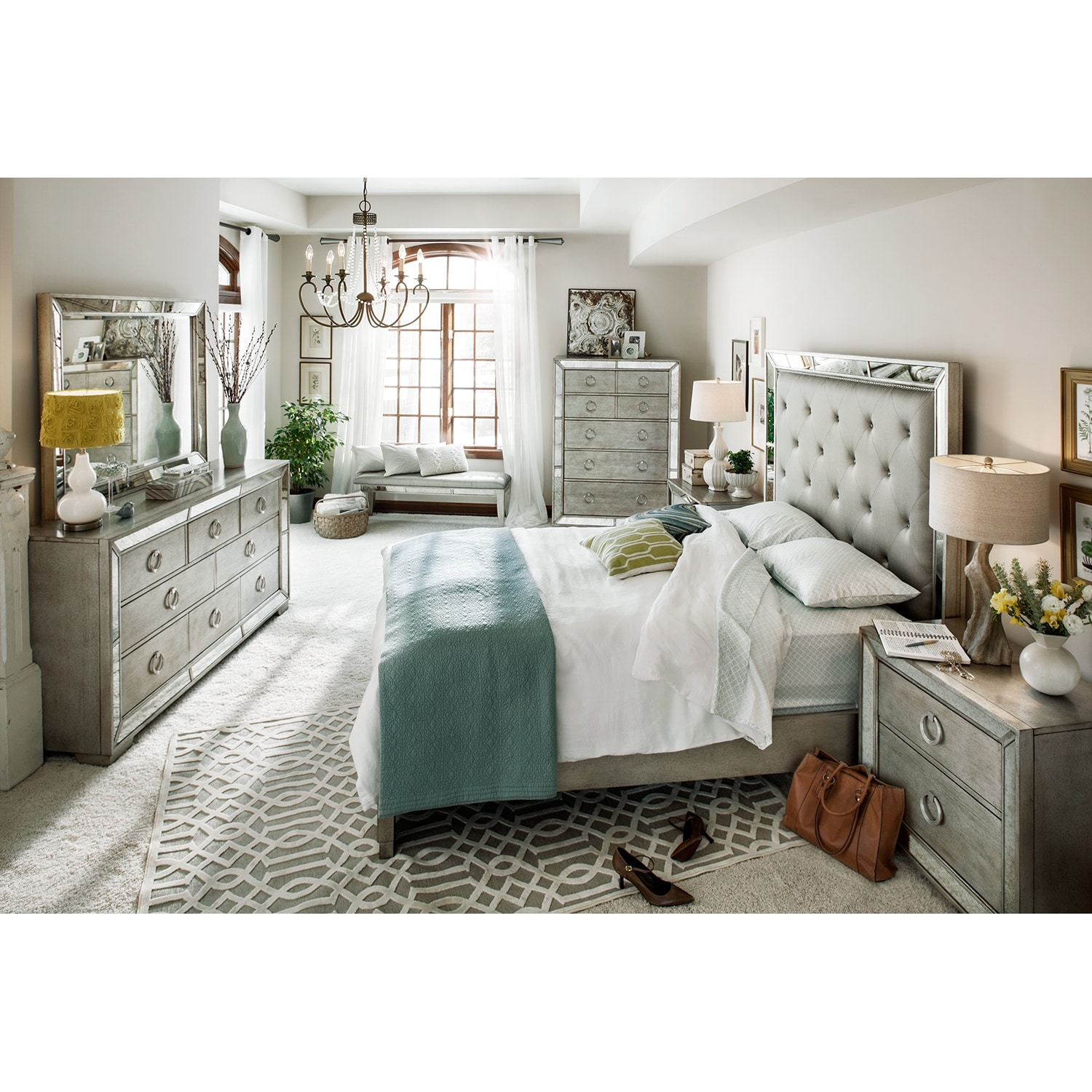 Angelina 5-Piece Queen Bedroom Set - Metallic