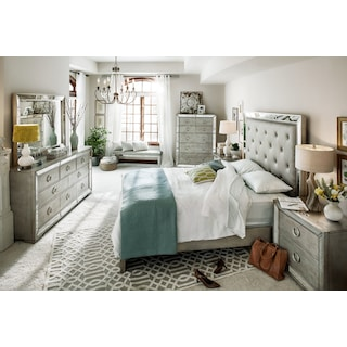 Angelina 6-Piece King Bedroom Set - Metallic