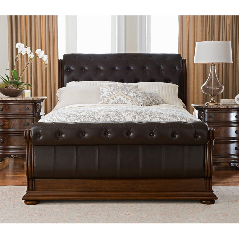 Monticello Queen Sleigh Bed Pecan American Signature Furniture