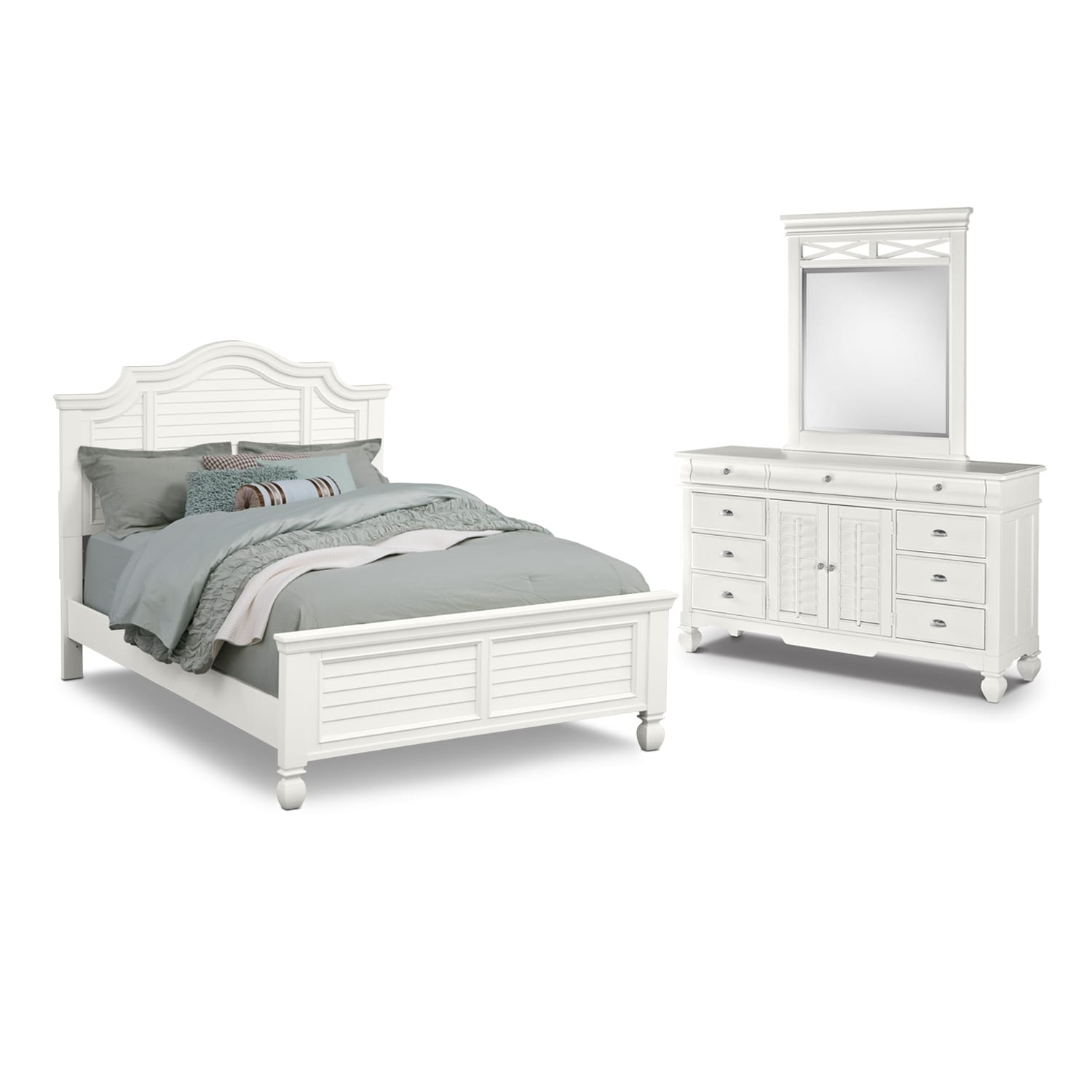 [Plantation Cove White Panel 5 Pc. Queen Bedroom]