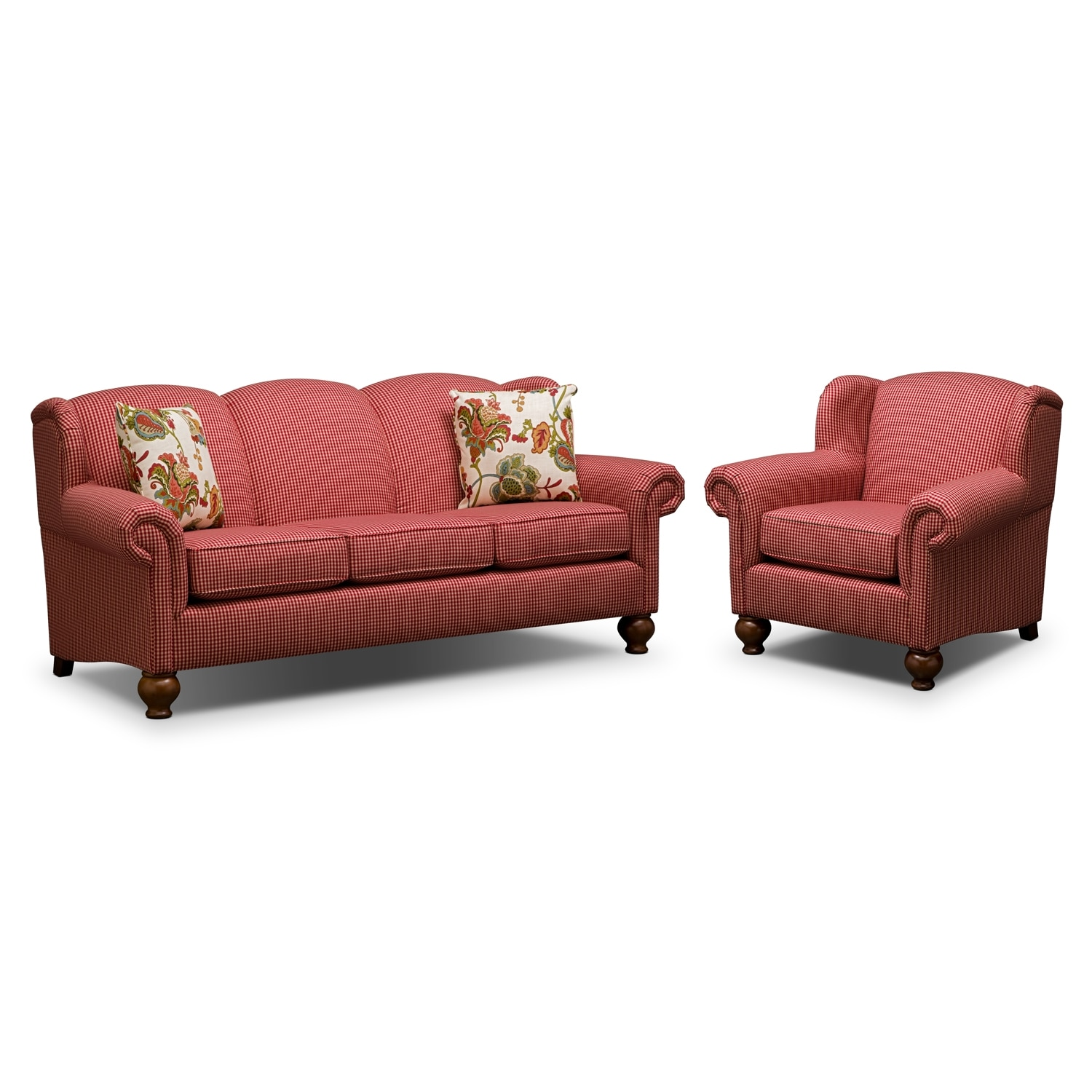 Living Room Furniture - Charlotte 2 Pc. Living Room w/ Chair