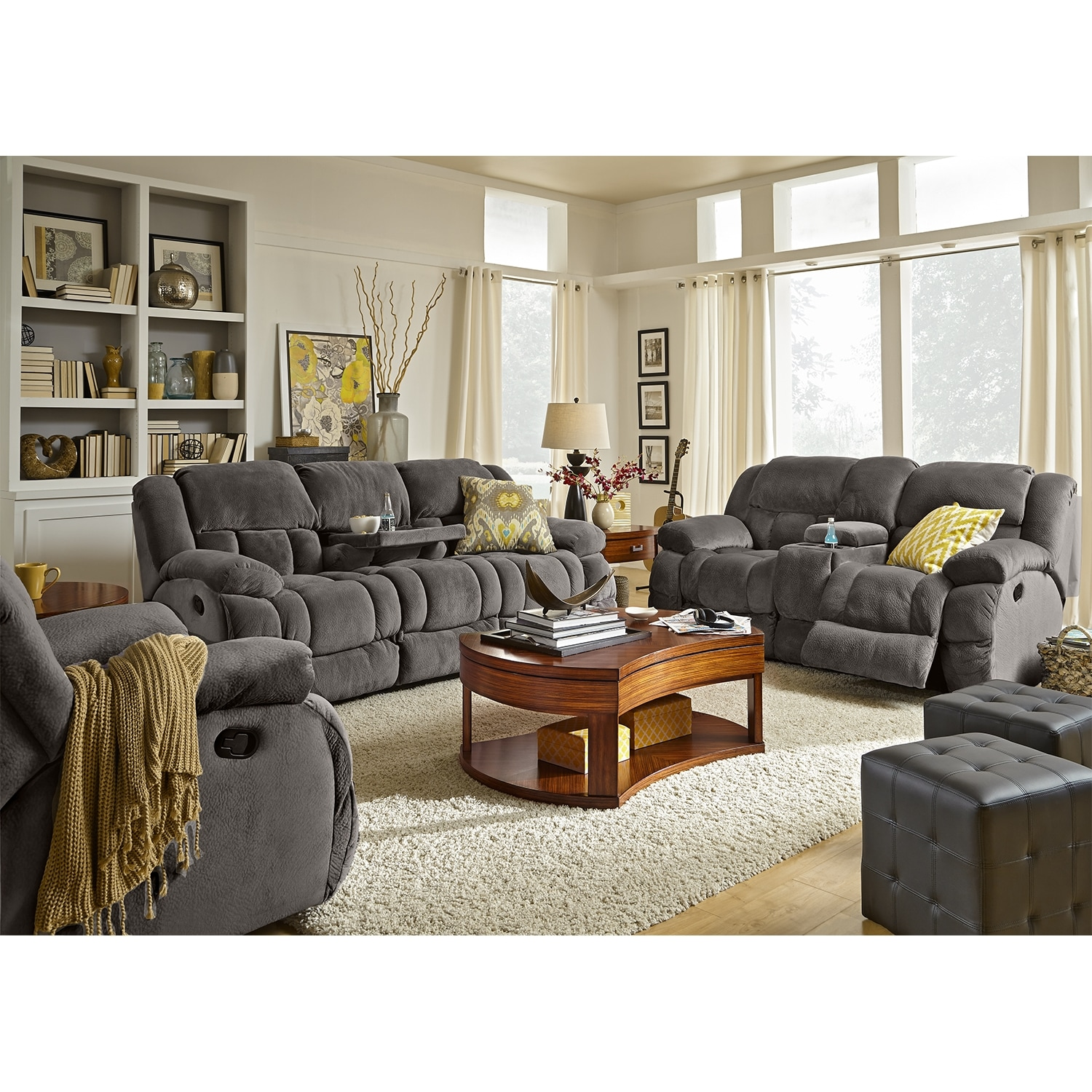 Park City Dual Reclining Sofa and Loveseat Set Gray