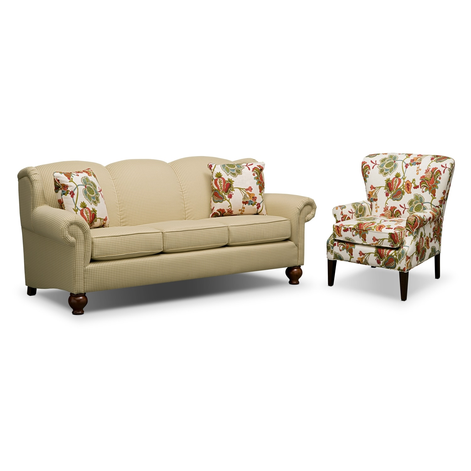 Living Room Furniture - Charlotte II 2 Pc. Living Room w/ Accent Chair
