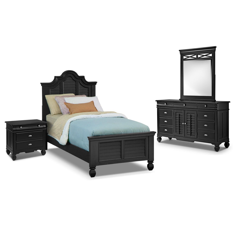 Bedroom Furniture - Plantation Cove Black II 6 Pc. Full Bedroom (Alternate)