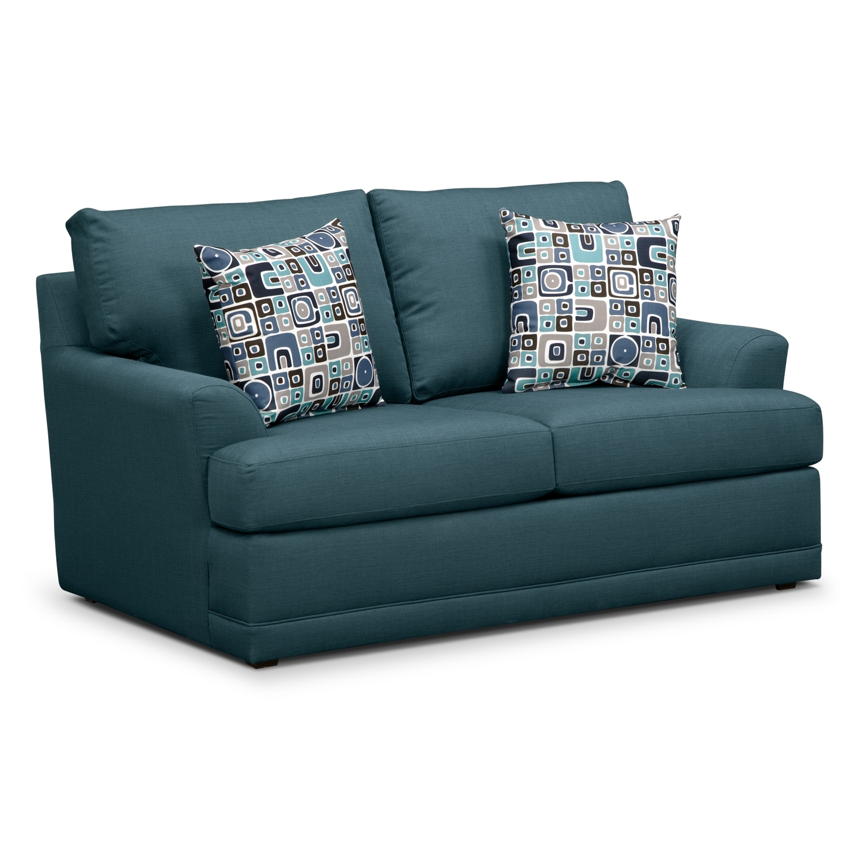 Living Room Furniture - Kismet Queen Memory Foam Sleeper Sofa and Loveseat Set - Teal