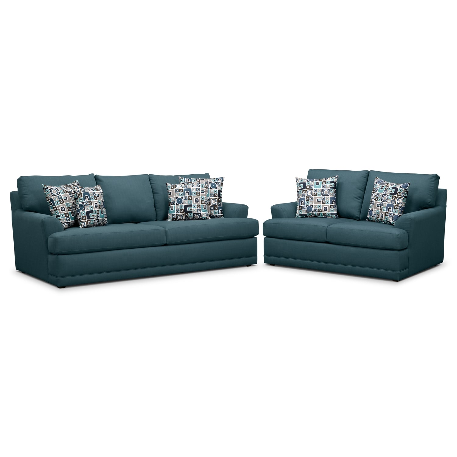 Living Room Furniture - Kismet Queen Innerspring Sleeper Sofa and Loveseat Set - Teal