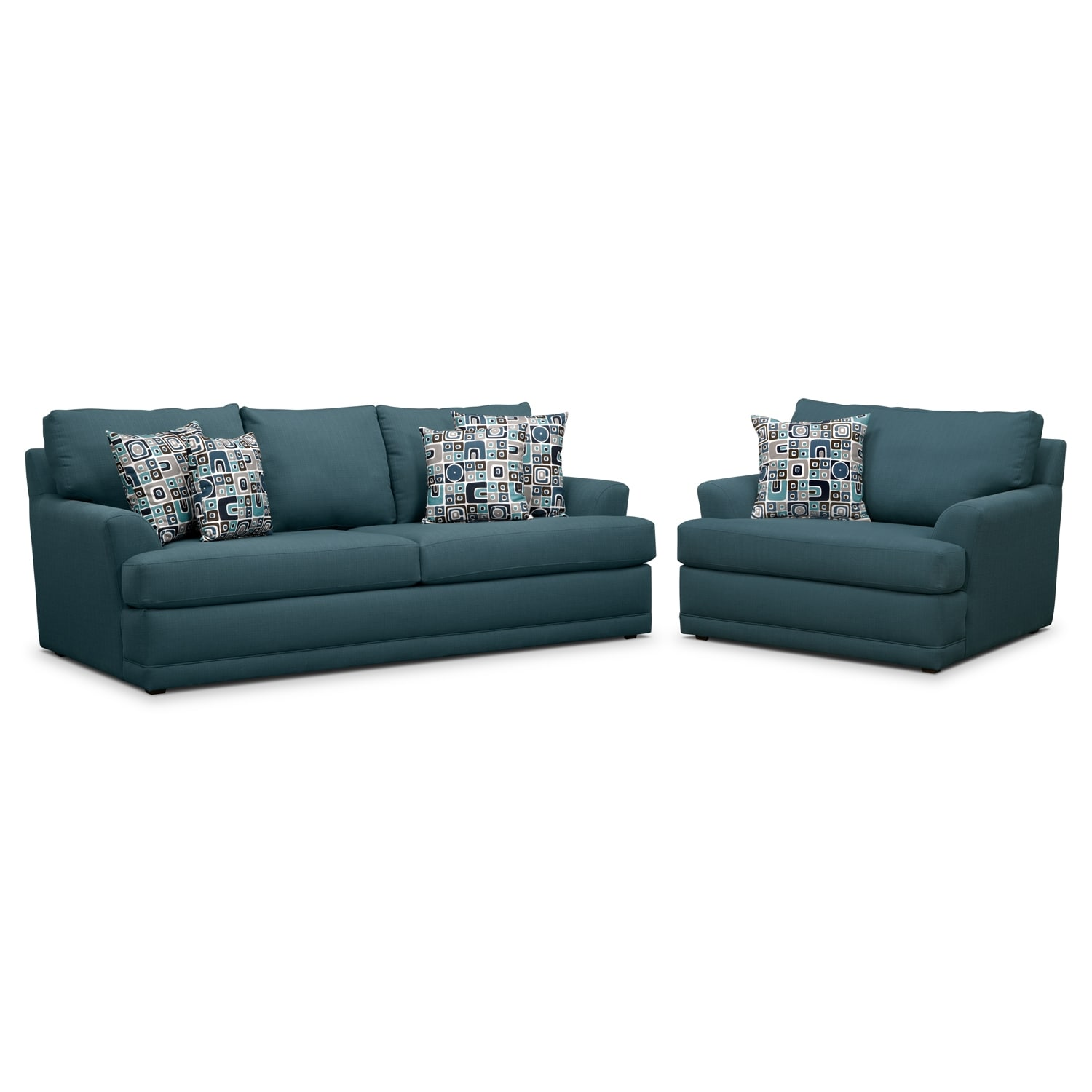 Kismet Sofa and Chair and a Half Set - Teal