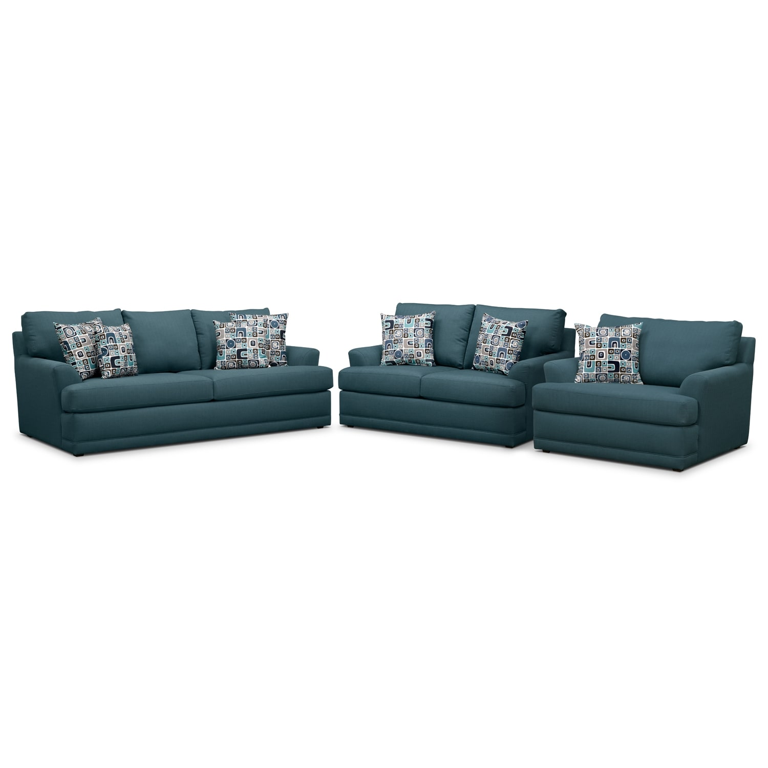 Living Room Furniture - Kismet 3 Pc. Sleeper Living Room with Chair and a Half and Memory Foam Mattress - Teal
