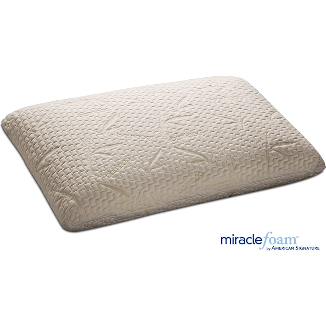 Mattresses and Bedding - Traditional Miracle Foam Queen Pillow - White