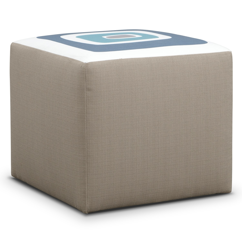 Living Room Furniture - Kismet Cube Ottoman - Gray