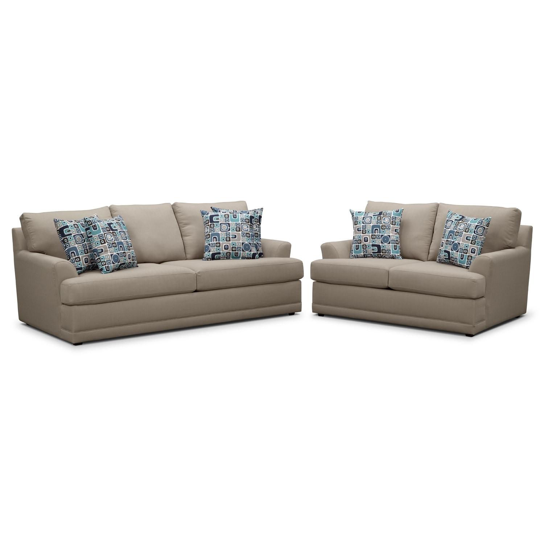 Kismet Sofa and Loveseat Set - Gray