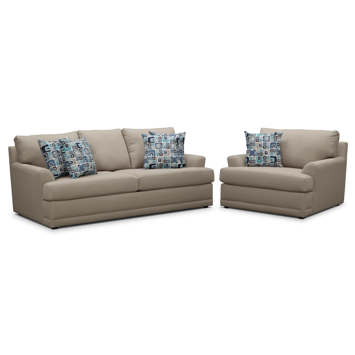 Living Room Furniture - Kismet 2 Pc. Sleeper Living Room with Chair and a Half and Innerspring Mattress - Gray