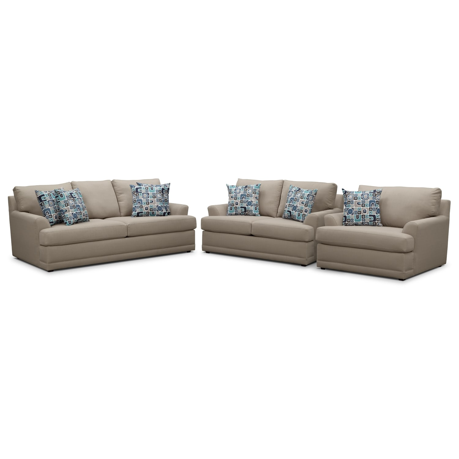 Living Room Furniture - Kismet 3 Pc. Sleeper Living Room with Chair and a Half and Memory Foam Mattress - Gray