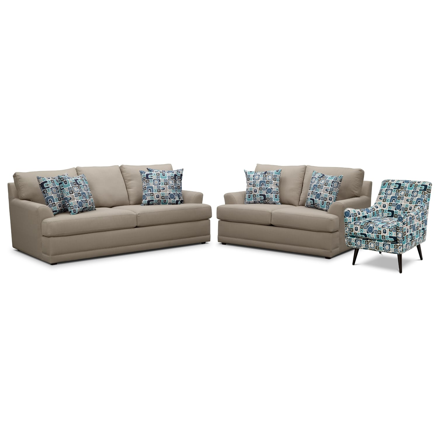 Living Room Furniture - Kismet II 3 Pc. Living Room w/ Accent Chair