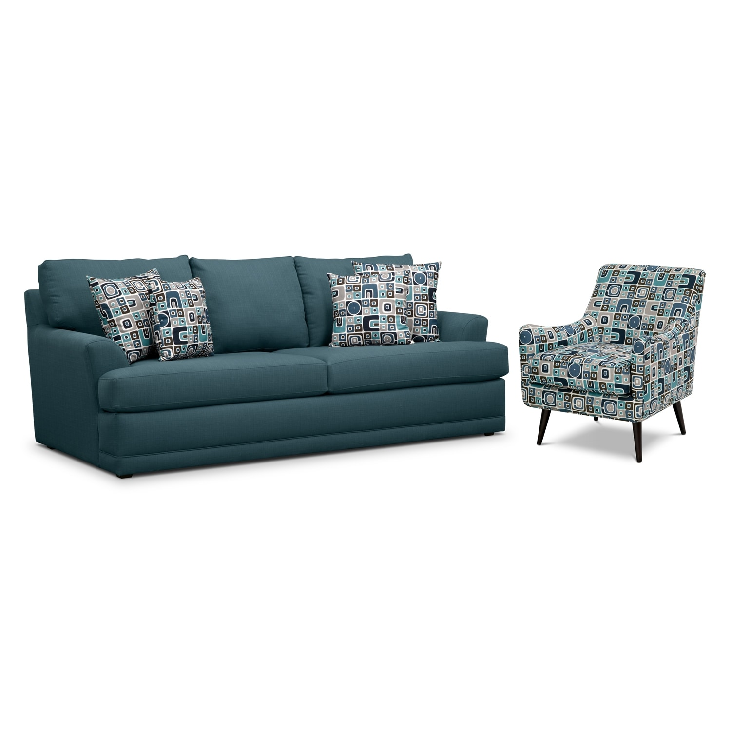 Living Room Furniture - Kismet 2 Pc. Living Room w/ Accent Chair