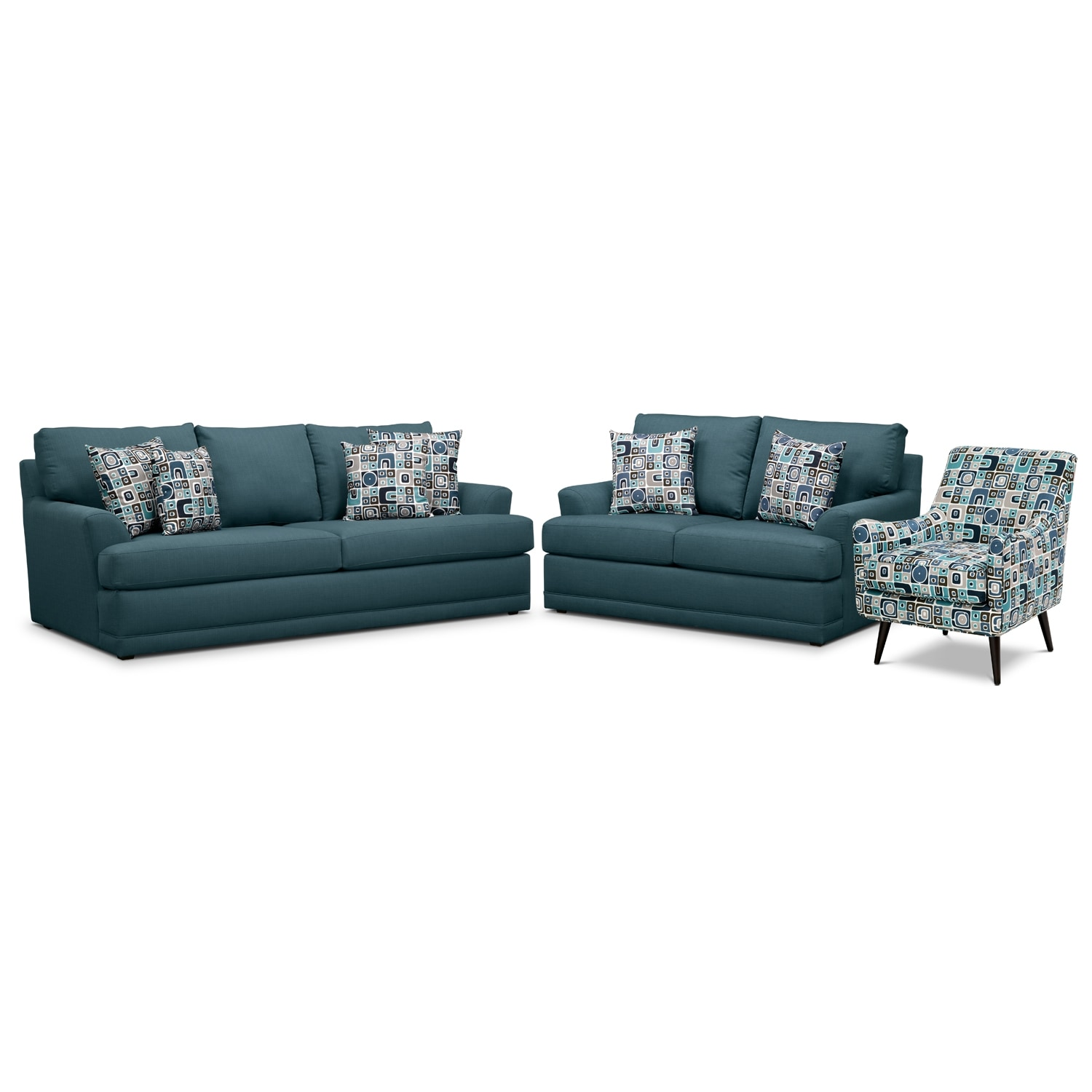 Living Room Furniture - Kismet 3 Pc. Sleeper Living Room with Accent Chair and Memory Foam Mattress - Teal