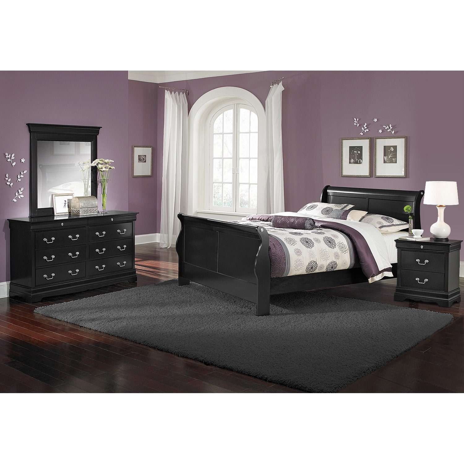 Bedroom Furniture - Neo Classic Youth 6-Piece Full Bedroom Set - Black