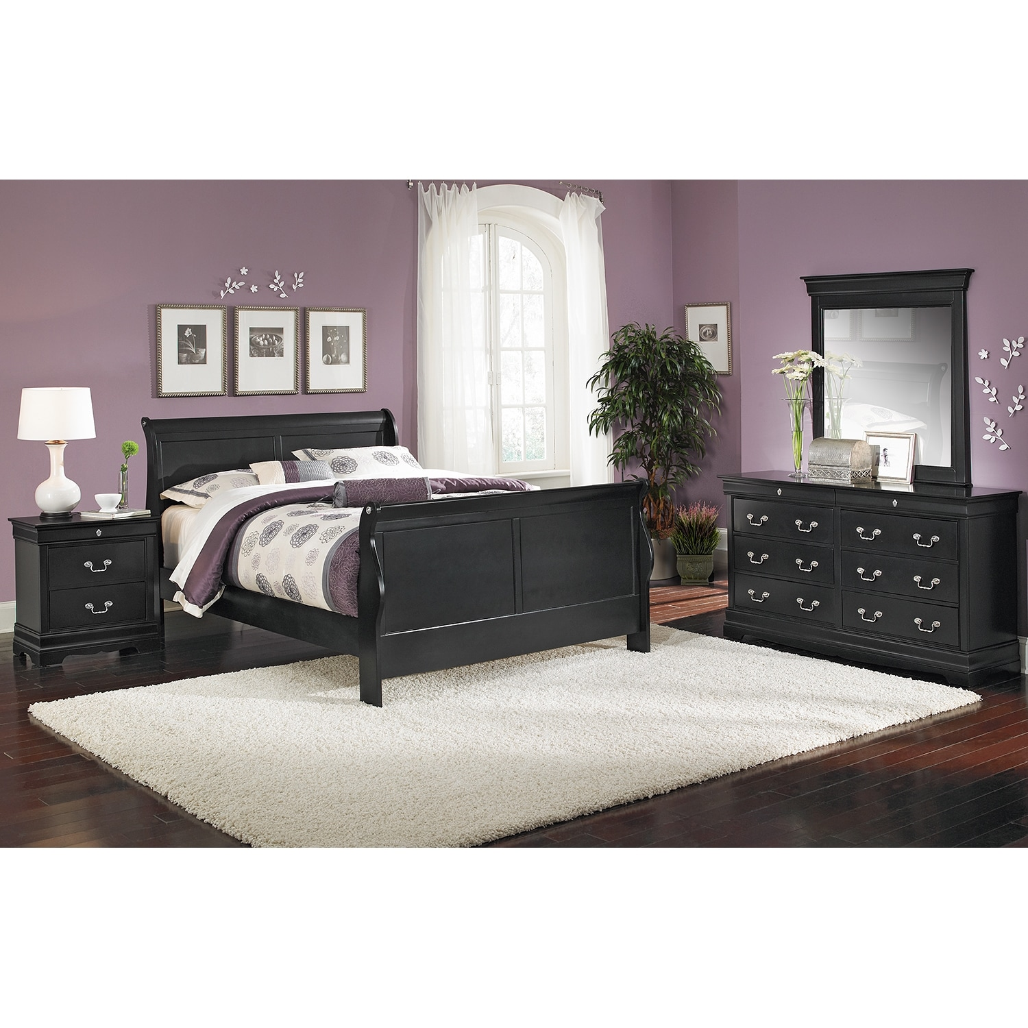 Bedroom Furniture - Neo Classic 6-Piece Queen Bedroom Set - Black