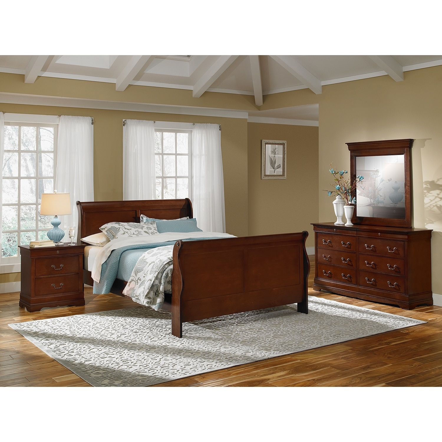 Bedroom Furniture - Neo Classic 6-Piece Queen Bedroom Set - Cherry