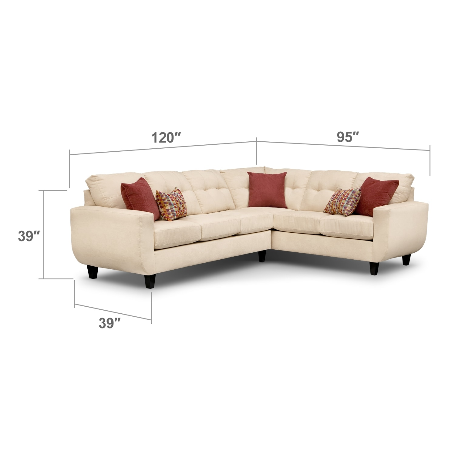 Living Room Furniture - West Village 2-Piece Sectional - Cream