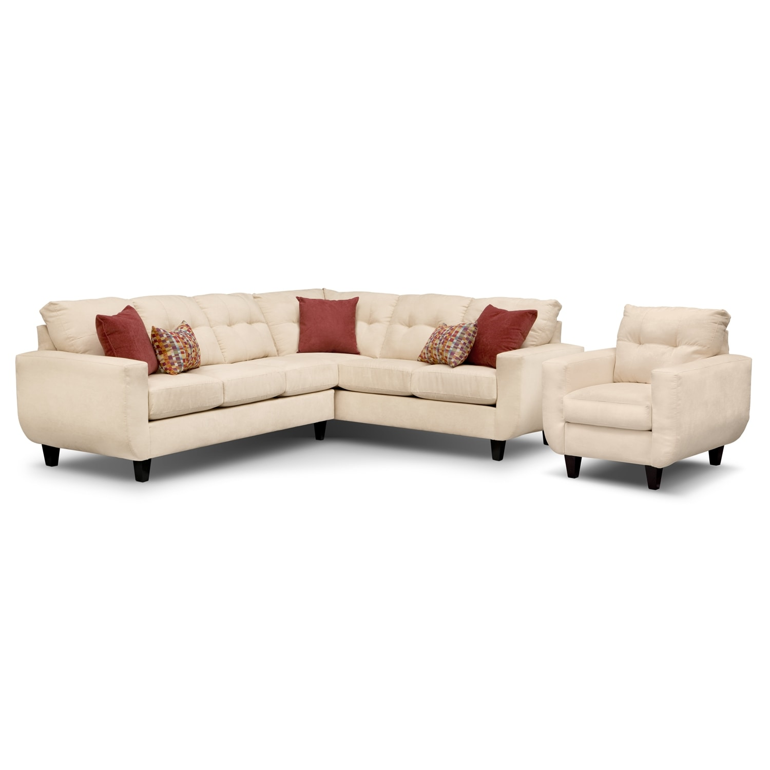 Living Room Furniture - West Village Cream II 2 Pc. Sectional and Chair