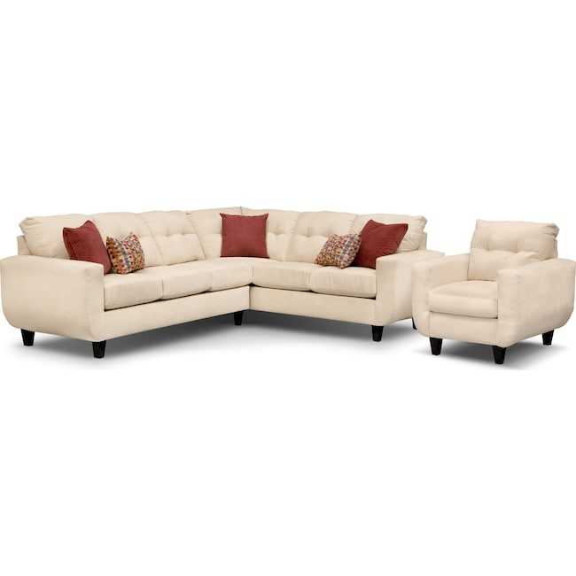 Living Room Furniture - West Village 2-Piece Sectional and Chair Set - Cream