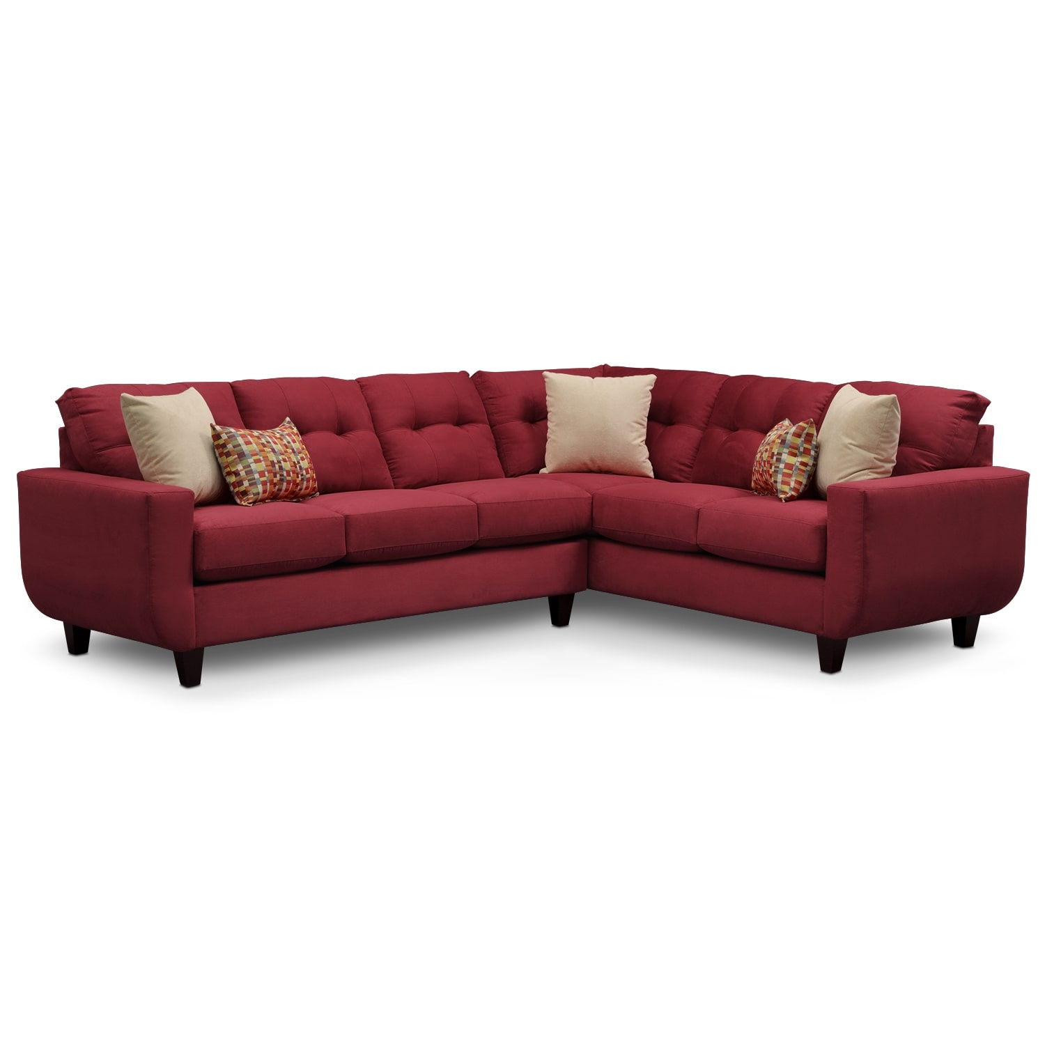 West Village 2 Piece Sectional Red American Signature Furniture