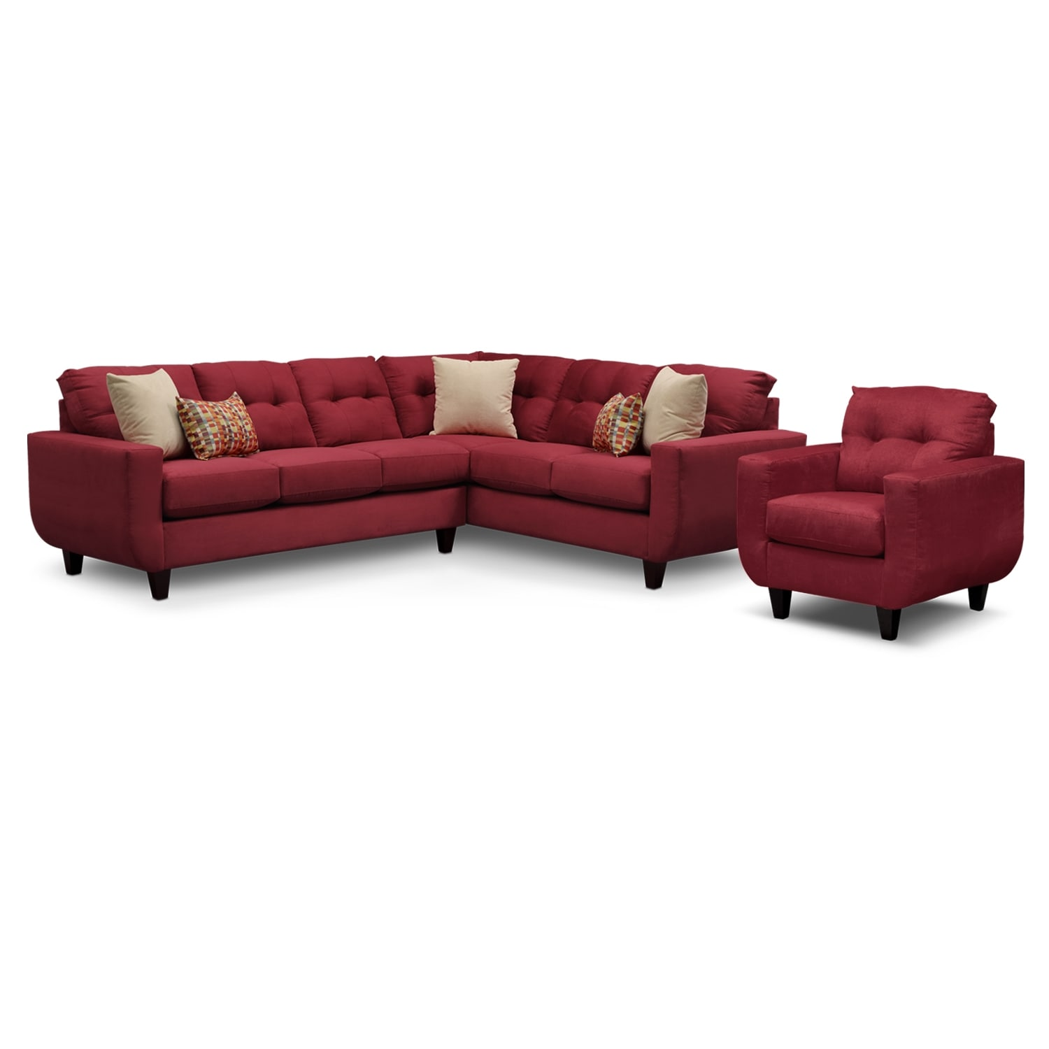 Living Room Furniture - West Village 2-Piece Sectional and Chair Set - Red
