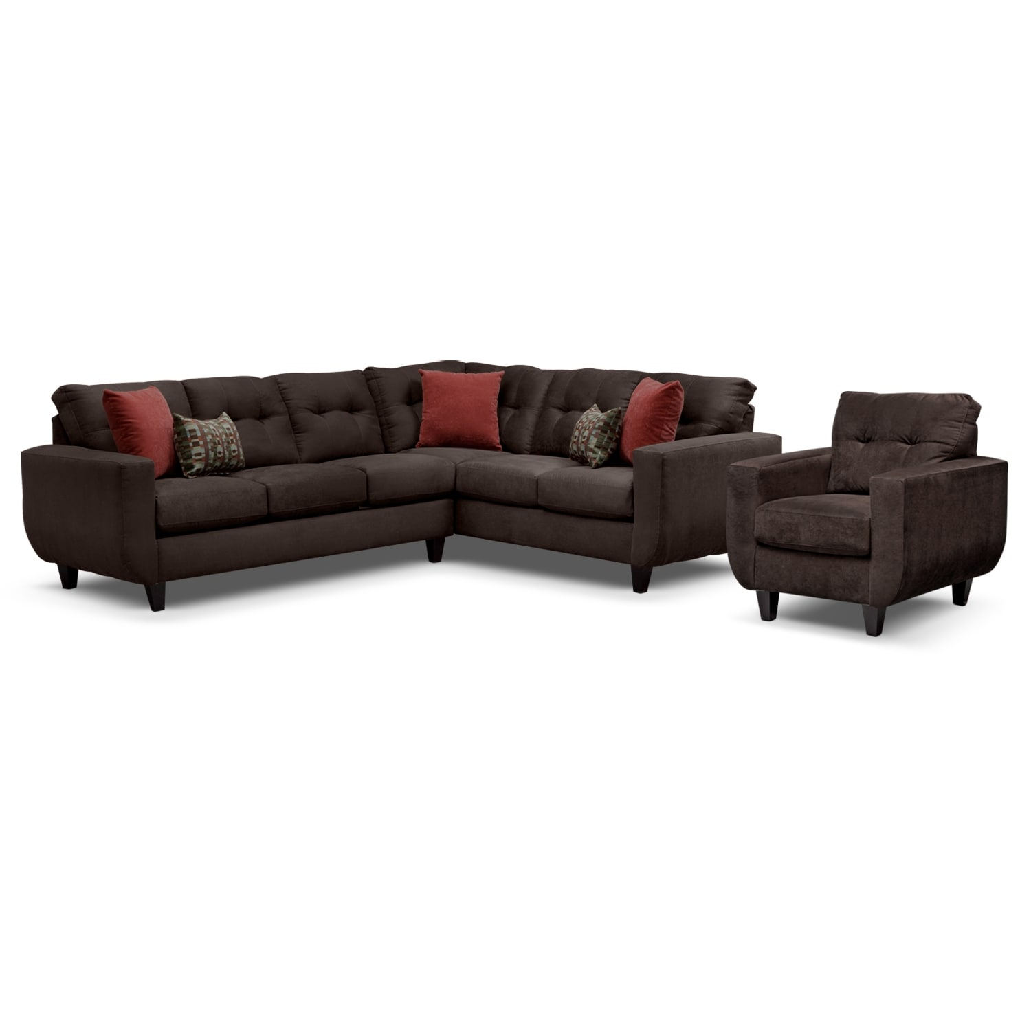 Living Room Furniture - West Village Chocolate II 2 Pc. Sectional and Chair