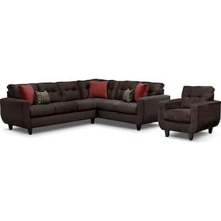 West Village 2-Piece Sectional and Chair Set - Chocolate