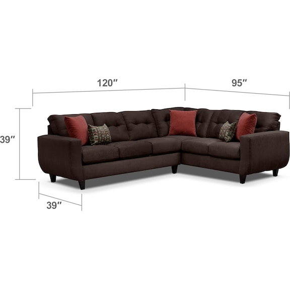 Living Room Furniture - West Village 2-Piece Sectional - Chocolate